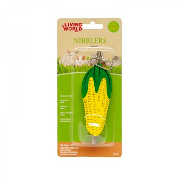 Madera masticar maíz con gancho de Living World