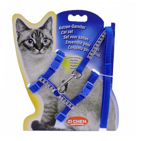 Arnes Para Gato Con Brillos - Azul Oscuro