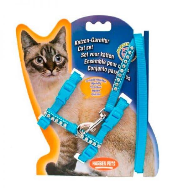 Arnes Para Gato Con Brillos - Azul Claro