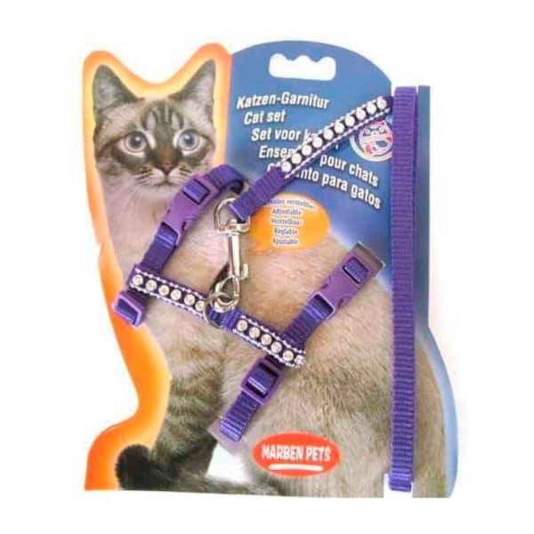 Arnes Para Gato Con Brillos - Morado