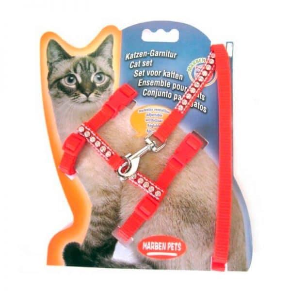 Arnes Para Gato Con Brillos - Rojo