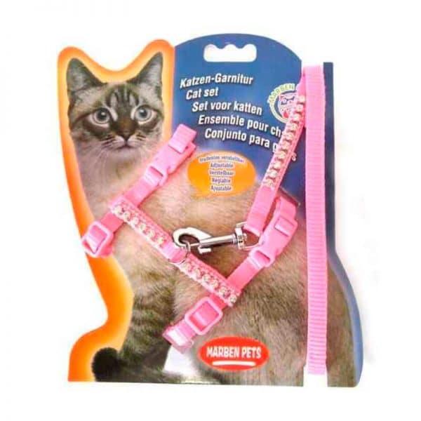 Arnes Para Gato Con Brillos - Rosado