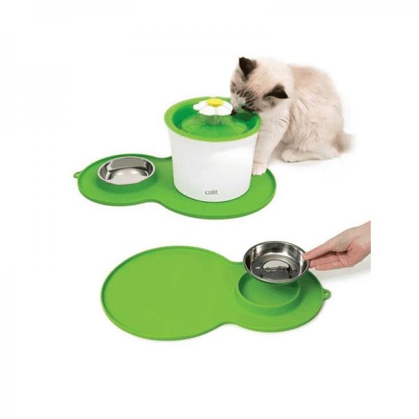 Cat It Duo Plato y alfombrilla para fuentes de gato
