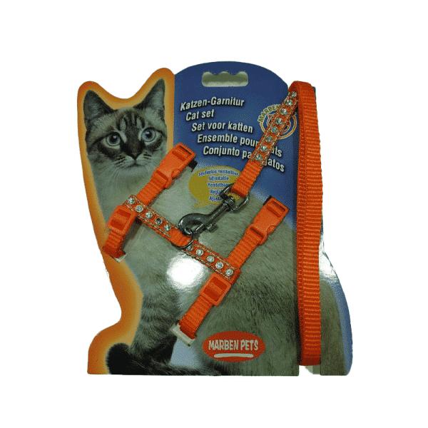 Arnes Para Gato Con Brillos Naranja