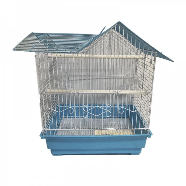 Jaula para aves con techo triangular azul - Keet Cage